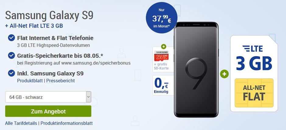 Das Samsung Galaxy S9 gibt es aktuell mit einer gratis Speicherkarte. (c) Screenshot GMX