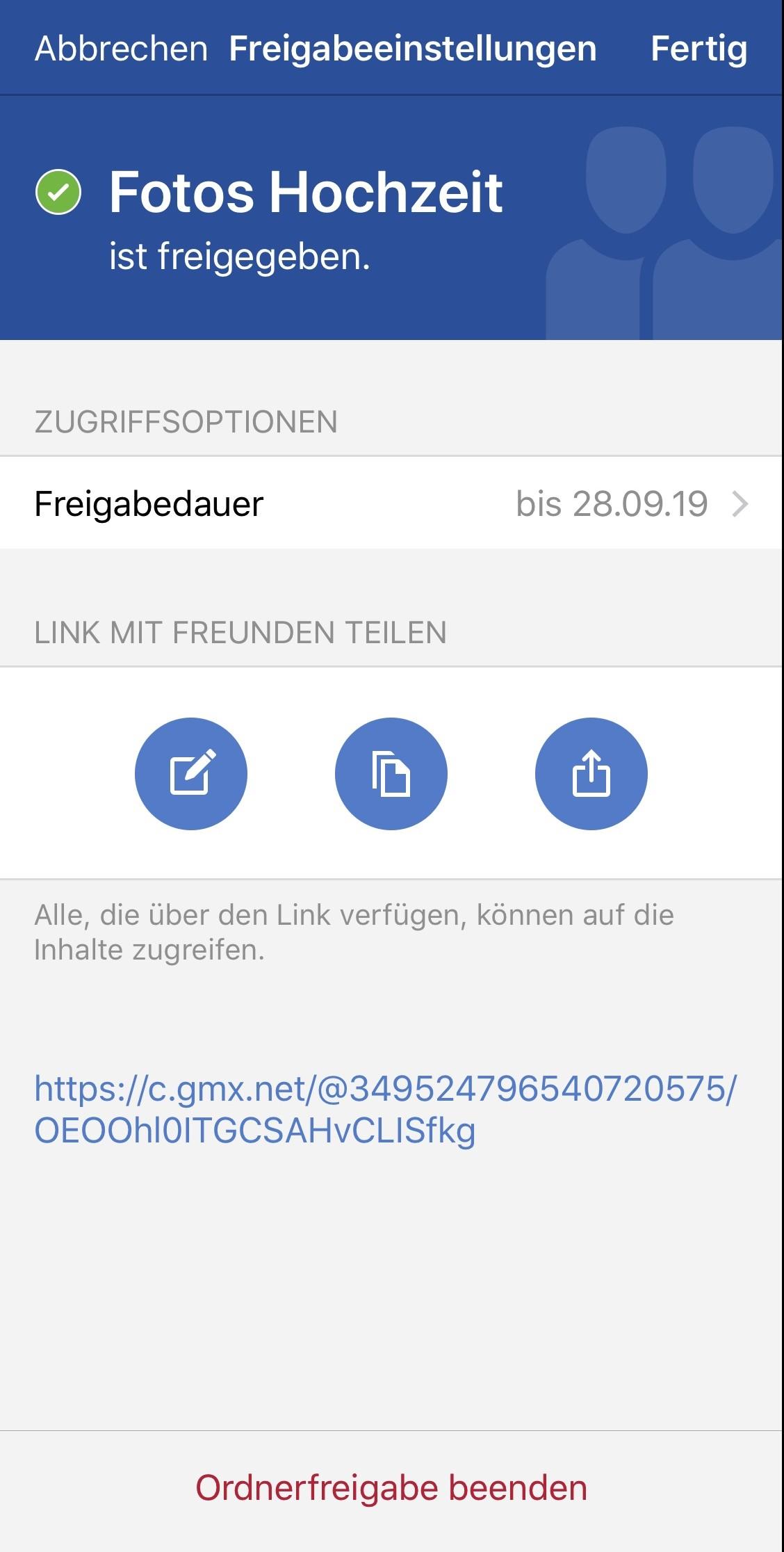 Ordner-Freigaben lassen sich in der GMX Mail App genau konfigurieren. (c) GMX