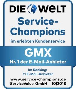 Von den zehn untersuchten E-Mail-Anbietern belegt GMX dabei in der Gunst der Kunden wie schon in den Jahren 2015, 2016 und 2017 den ersten Platz. (c) ServiceValue