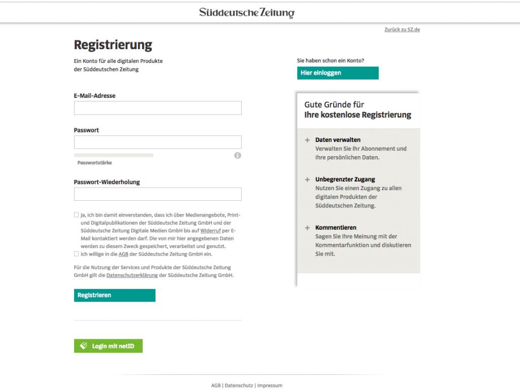 Auf sueddeutsche.de können sich GMX-Nutzer per netID einloggen. (c) Süddeutsche Zeitung