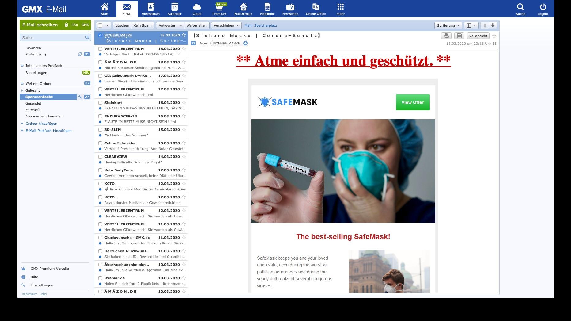 Onlinekriminelle nutzen die Corona-Krise für Phishing-Attacken. (c) GMX
