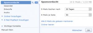 Das eingestellte Löschintervall für einen E-Mai-Ordner lässt sich im GMX Postfach ganz leicht überprüfen und verändern.